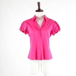 THEORY – Short Sleeve Stretch Cotton Pink Shirt
